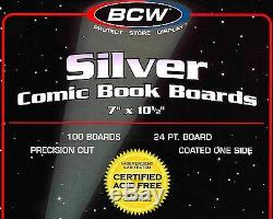 1000 Silver Resealable Bags and Boards New BCW Archival Comic Book Storage