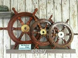 12, 18, 24 Nautical Boat Wooden/Brass Ship Steering Wheel Combo of 3 Pieces