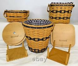 12 Longaberger JW Collection Miniature Baskets with Liners Protectors Cards & More