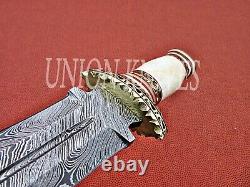 14 Custom Handmade Damascus Steel Dagger Hunting Knife With Camel Bone Handel