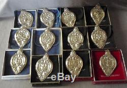1988-1999 Wallace Grand Baroque Sterling 12 Days Christmas Ornament Set 12