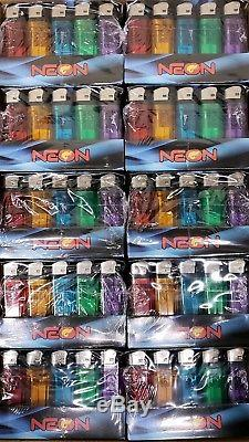 1,000 Neon Brand Disposable Lighters Butane Cigarette Cigar Bulk Wholesale Lot