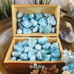 1 KG Wholesale LARIMAR TUMBLED Natural Meditation Crystal, Palm Stone