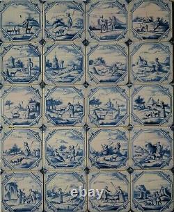20 Original Delft delftware tiles carreaux with shepherd, c. 1760 1780