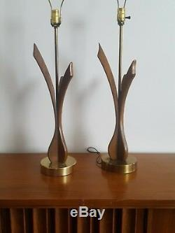 2 Vtg Mid Century Modern Brass & Wood 39 Table Lamps, Eames style