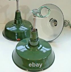 (3) VTG 18 Porcelain Industrial Green Barn Ceiling Pendant Multi Light B's