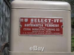 3 Vintage U-Select-It Manual Vending Machines Hand Turn, Candy, Cigarettes