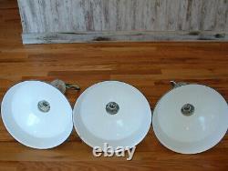 (3) Westinghouse 14 Porcelain White Barn Industrial Light Gas Station Vtg A's