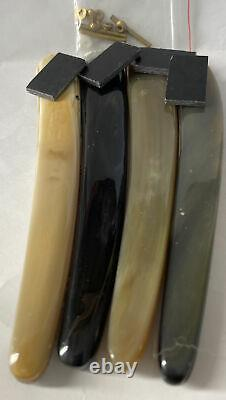 4 Pre-Shaped Colorful Ox Horn For Dovo Straight Razor Scales 5/8-1 Razor Blades