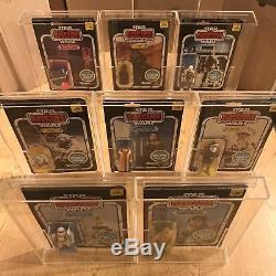 8 Star Wars ESB 45 back 1981 Vintage MIP Figures Luke Han Leia Yoda Jawa Dengar