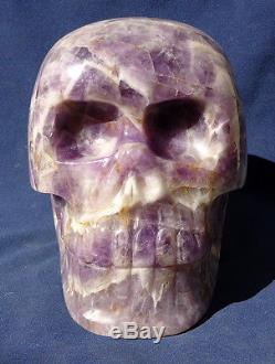 9 Huge Crystal Skull, Carved Chevron Amethyst 8.940 kg Wholesale Brazil