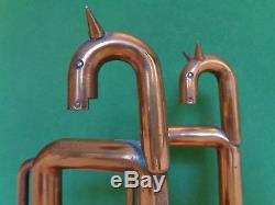 American Modern Ind. Art Deco Walter Von Nessen Copper Horse Book Ends