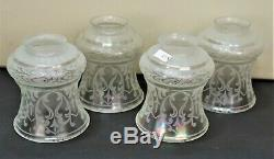 Antique Art Nouveau Art Deco Victorian Acid Etched Iridescent Glass Lamp Shades