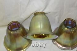 Art Glass shades, Gold Favril, Tiffany style, Bell shade. Set of 5