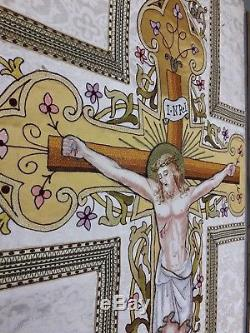Benziger Brothers French Needlework Crucifixion Vestment Half Panel 1920's 2pc