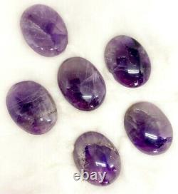 Bulk 50 Pcs KIT Natural Amethyst Thumb Worry Stone with Pouch & Crystal Info Card