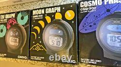 Casio moon tri graph TGQ200 & GMQ100 & CGQ300 Cosmo Phase alarm clocks 1985