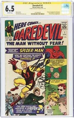 Daredevil #1 Signed & Sketched Spider-man By Stan Lee Cgc 6.5 Fn+ Rare 1 Of 1