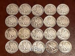 FULL DATES Silver Walking Liberty Half Dollar LOT of 20+NICE Examples! (COLLECT)