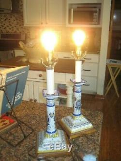 Frederick Cooper Hand Painted Ceramic Table Lamps Vintage Pair