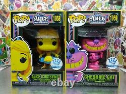 Funko Pop! Alice in Wonderland Black Light Funko Exclusive Set Of 4 W PROTECTORS