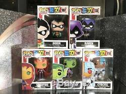 Funko Pop Beast Boy Starfire Raven Robin Cyborg Teen Titans Go Set MINT