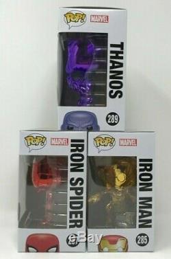 Funko Pop Marvel Avengers Infinity War Triple Chrome Pack Thanos Iron Man Spider