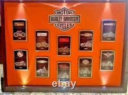 HARLEY DAVIDSON New Zippo Lighters Bradford Exchange Collection & Display Case