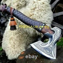 Hand Forged VIKING AXE, Carbon Steel with Leather sheath, Norse Axe, Vikings Axe