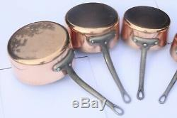 Heavy Vintage French Copper Pan Saucepan Set 5 Tin Lined Cast Iron 9.3lbs