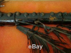 Indian Artifact Metal Blade Beaded 1800 Tomahawk