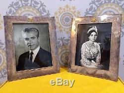 Iran Silver Framed Autographed Photos of Mohammadreza Pahlavi Farah Diba Persian