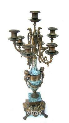 Italian Baroque Brass Bronze Green Marble Candelabra Pair Cherubs Roosters Large