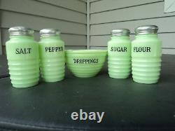 Jeannette Light Jadite Green 5 Piece Shaker And Drip Jar Set