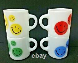 LOT 4 vintage milk glass coffee mugs HAPPY SMILEY FACE MUG