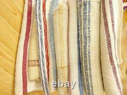 LOT of 8 Vtg Antique 1800s MIXED STRIPE HEMP LINEN fabric FEED SACK GRAIN BAGS