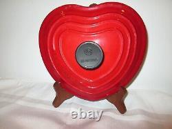 Le Creuset Enameled Cast Iron Cerise Heart 2.25 Qt & Cerise Cast Iron Trivet