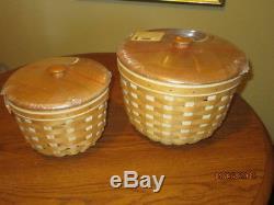 Lot 5 Vintage Longaberger Baskets With Liners Foliage Baskets, Snap Dragon Etc