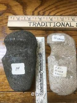 Lot of (2)- Stone Adze / Axe Head Artifact Relic Kalamazoo River Valley Mich