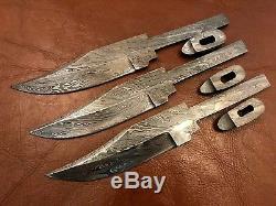 Lot of 3 Handmade Damascus Steel Blank Blade-with guard-Knife making-Kling-B35