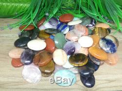 Lot of 50 Mix Worry Stones Crystal Palm Stones Thumb Stones Pocket Stones