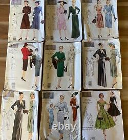 Lot of 9 Vogue vintage model sewing patterns 1930s 1940s 1950s dress skirt