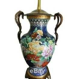 MARBRO Cloisonne Blue Table Lamps, PAIR, Chinese Asian Hollywood Regency Style
