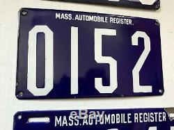 MASS. AUTOMOBILE REGISTER license plates 1903-1906 SIX MA Massachusetts