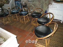 MID Century Modern Bentwood Bamboo Swivel4 Black Chairs Set Of 4