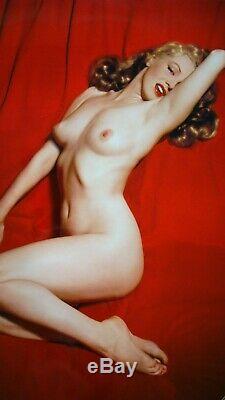 Marilyn Monroe Nude Red Velvet Original Vintage 10 Photographs Lot From Negative