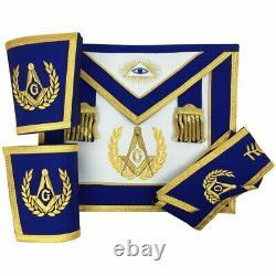 Masonic Blue Lodge Master Mason Apron Set Apron, Collar, Gauntlets (Cuffs)