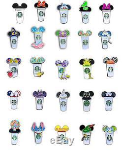 Mickey Starbucks Cup Pins, 28 characters, disney starbucks, disney pins
