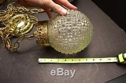 Mid Century Hollywood Regency Double Swag Pendant Hanging Lamp Light CLEAR Gold