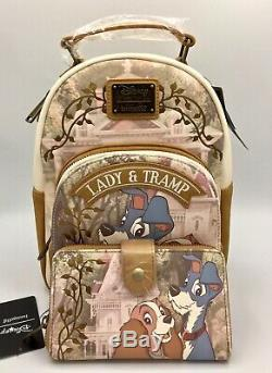 NWT Loungefly Disney Lady and The Tramp Suede Mini Backpack & Wallet EXCLUSIVE